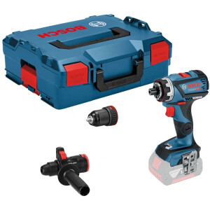 Bosch GSR 18V-60 FCC Body Only 18v Flexiclick Drill/Driver with Chuck and Hammer Attachment In L-Boxx