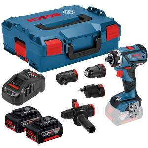 Bosch GSR 18V-60 FCC Set 18v Flexiclick Drill Driver with Chuck + Right Angle HX + Excenter + Hammer In L-Boxx (2x5.0Ah)