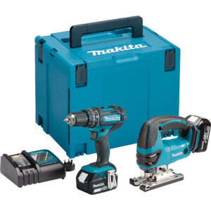 Makita DLX2134MJ 18v Twin Kit Combi drill and Jigsaw with 2 batteries