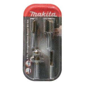 """Makita P-24876 4pce Set Straight Bits 6,12,19mm Rounding Over Bit R13mm Shank: 1/4"""", P2..."""
