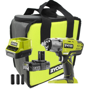 """Ryobi R18IW3-120S  18V 3-Speed Impact Wrench (1/2"""" Drive) with Battery, Charger, 3 x Sockets and Carrybag"""