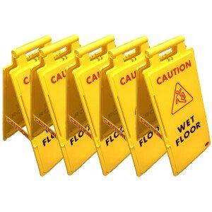 """5 x JSP HBA110-000-2001 'Caution Wet Floor' Collector A-Frame Signs 65cm/25"""""""